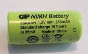 NiMH battery 1.2 volt 345 mAh 10X23 mm